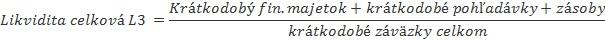 Ukazovatele likvidity - celková likvidita L3